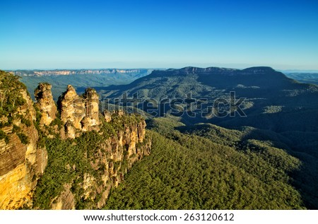 The famous Three Sisters rock formation in the Blue Mountains National Park close to Sydney, Australia - stock photo