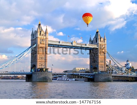 the famous tower bridge in london england - stock photo