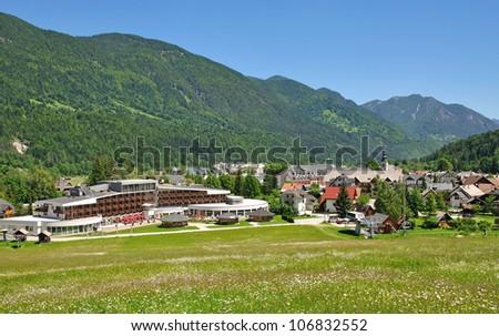 the famous Village of Kranjska Gora,Slovenia - stock photo