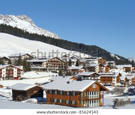 The famous village of Lech in the Austrian alps - stock photo