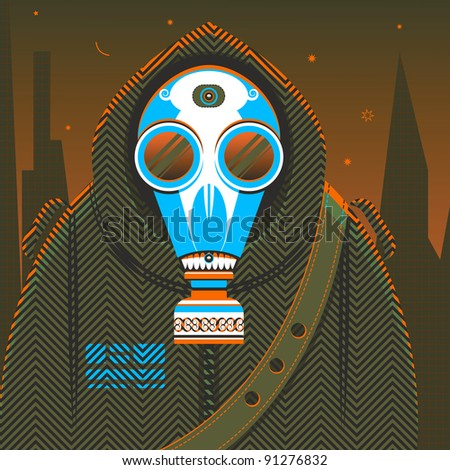 The fantasy person in protective clothes with a gas mask, being in radioactive environment. Illustration. Raster version. - stock photo