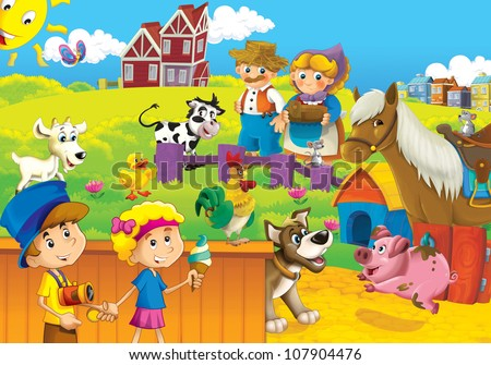 The farm illustration for kids - many different elements - happy and educational - stock photo