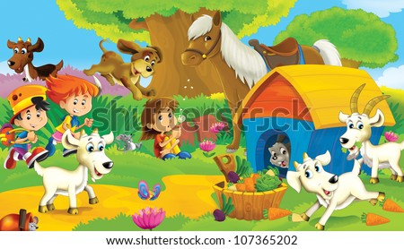 The farm illustration for kids - many different elements 3 - holidays - stock photo