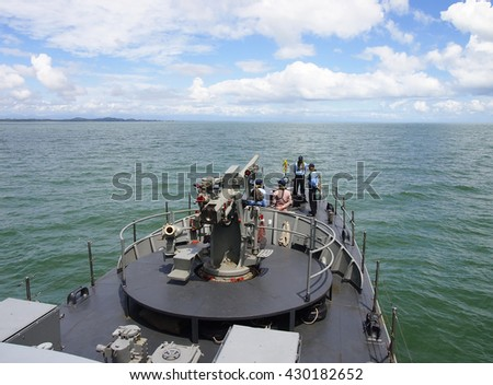 The FAST FRIGATE ,FF battle ship was shown for Thai people and tourist to visit  Naval Base - stock photo