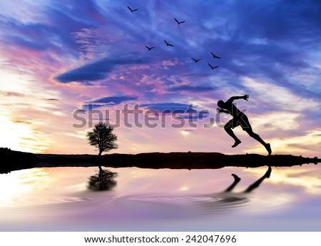 the fast runner - stock photo