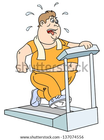 The fat man on the trainer treadmill. Raster version, vector file also included in the portfolio. - stock photo