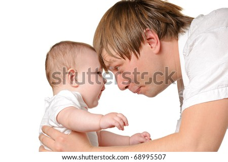The father and the daughter. The child age of 8 months. It is isolated on a white background
