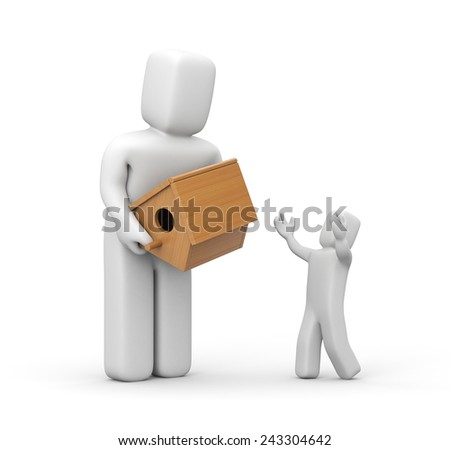 The father gives to child a birdhouse - stock photo
