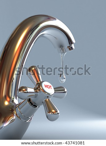 The faucet and last drop hot  water. - stock photo