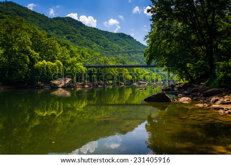 The Fayette Station Bridge, at the New River Gorge National River, West Virginia. - stock photo