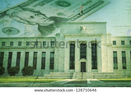 The Federal Reserve building in Washington DC superimposed on a twenty dollar bill and a grunge texture background - stock photo