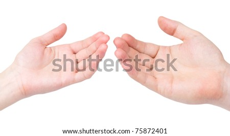 The female and man's hand to last to each other palms upwards - stock photo