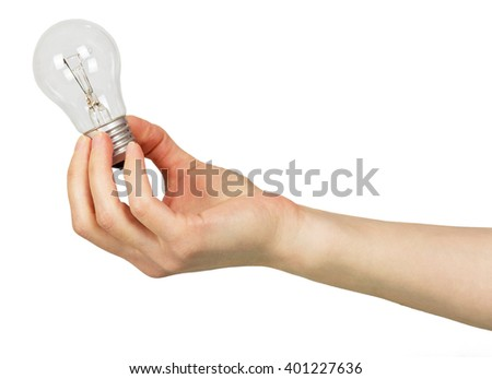 The female hand lamp bulb isolated on white background.