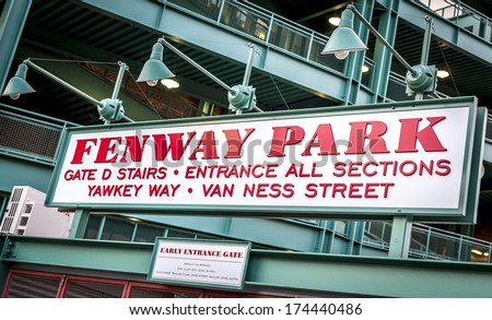 The Fenway Park Stadium Sign in Boston, Massachusetts,USA. - stock photo
