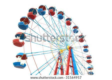 The Ferris wheel isolated on white background - stock photo