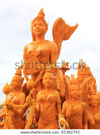 the festival parades Buddhist Lent candle of thailand - stock photo