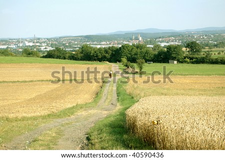 The fields in the outskirts of the city. - stock photo