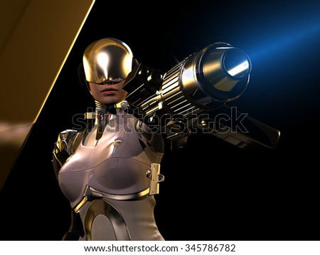 The figure of the robot on a black background. - stock photo