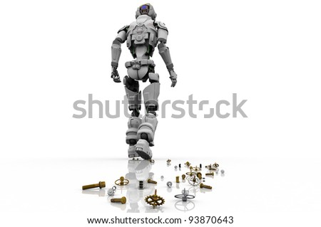 The figure of the robot  on a white background