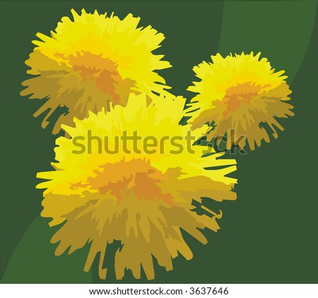 The figure representing three yellow dandelions on a green background. The image can be used as a background or a separate part of a composition - stock photo