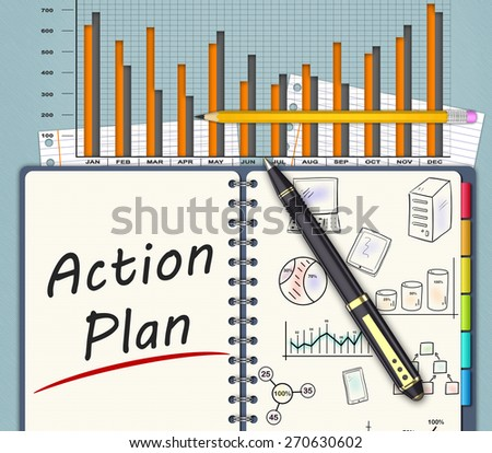 The financial business plan on an office desk - stock photo