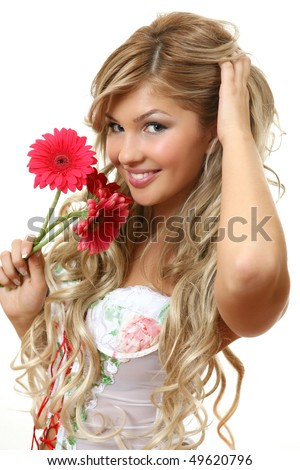 The fine woman with colors - stock photo