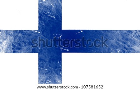 The Finnish flag painted in vintage style - stock photo