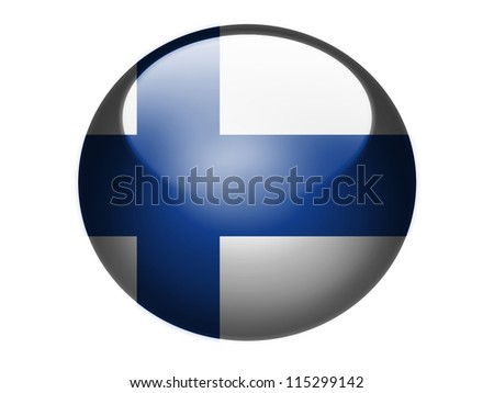 The Finnish flag painted on glossy round sphere or icon - stock photo