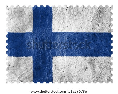 The Finnish flag painted on paper postage  stamp - stock photo
