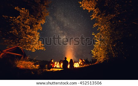 The fire at night
