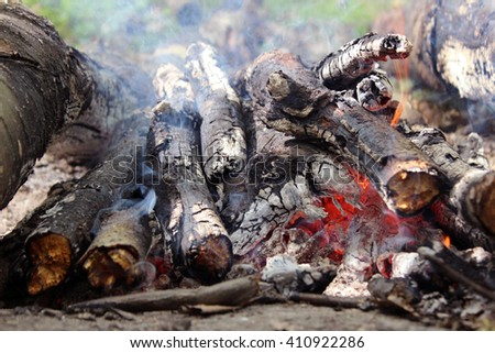The fire of wood in nature, fire and smoke from the bonfire - stock photo