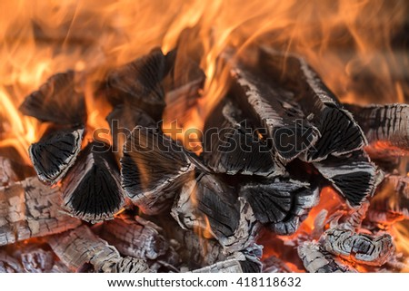 the fire on the wood, charred wood, ash - stock photo