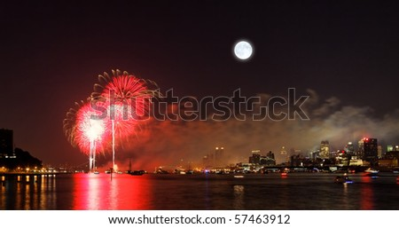 The fireworks in the country displayed over the Hudson River - stock photo