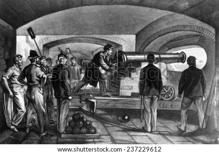 The firing on Fort Sumter in Charleston, South Carolina in response to a Confederate attack, April 12, 186 1, from The New York Times. - stock photo
