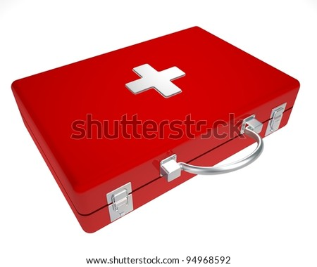 The first-aid set of the doctor on a white background