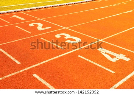 The first four places at the finish line running - stock photo