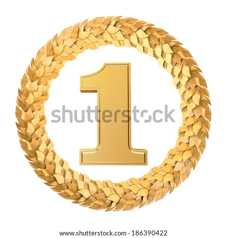 The first place in gold Laurel wreath - stock photo