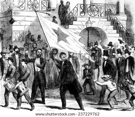 The first states rights flag unfurled by secessionists in Columbia, South Carolina, 1860.