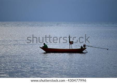 The fisherman's working in the sea with boat and equipments