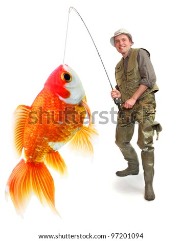 The fisherman with his big Goldfish. Successful business concept. - stock photo