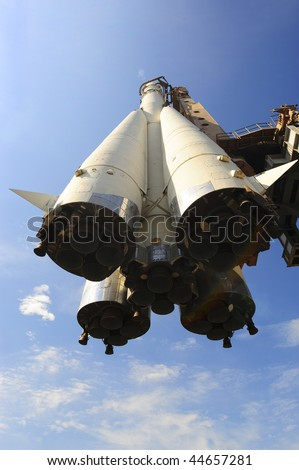 The Fist Russian Space Ship On The Launching Slipway - stock photo