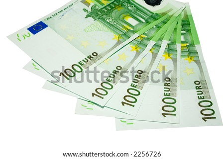 the five hundred euro banknotes with clipping path