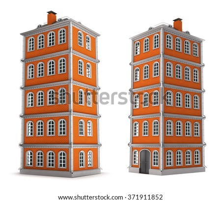 The five-storey brick building. Set. Isolated on white.