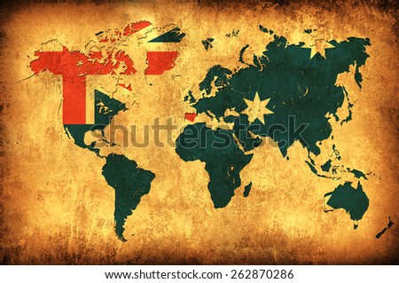 The flag of Australia in the outline of the world map - stock photo