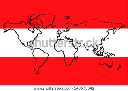 The flag of Austria with the outline of the world - stock photo
