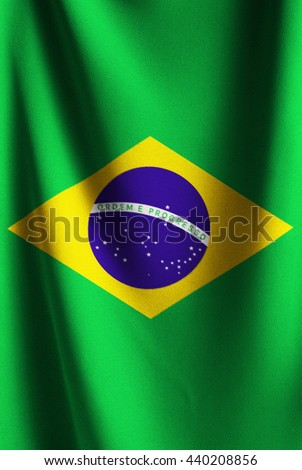 The flag of Brazil or Brazilian. Vertical fabric Brazil flag for several concept ; business,political,financial,currency and symbolizing in any occasional ; National day,sport,travel,holiday,olymbic