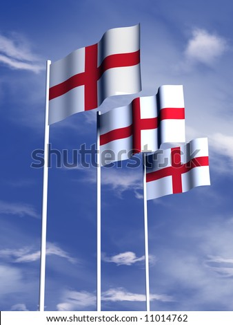 The flag of England flying under a blue sky