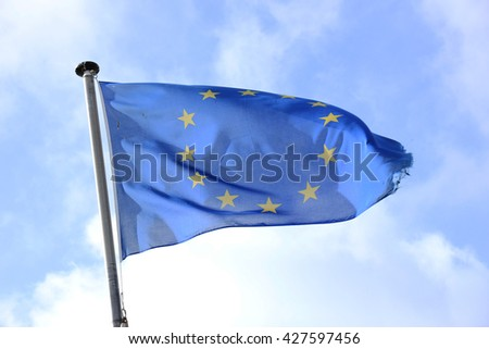 The flag of Europe waving in the wind