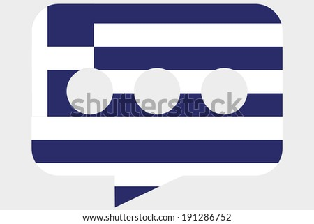 The flag of Greece in a messaging bubble - stock photo