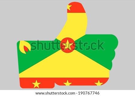 The flag of Grenada in a Thumbs Up Icon - stock photo